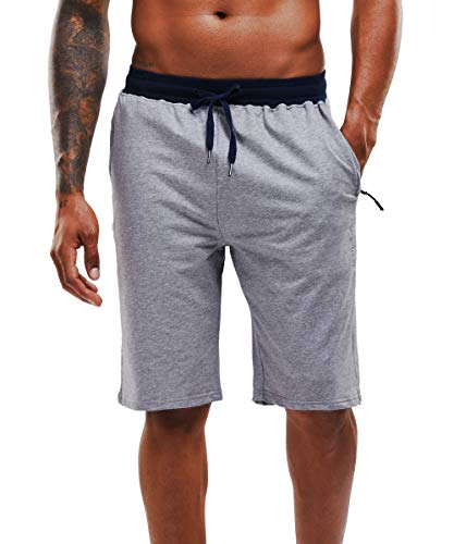 YAWHO Men's Workout Running Shorts Sports Fitness Gym Training Quick Dry Athletic Performance Shorts with Zip Pockets (Grey (1908), S)
