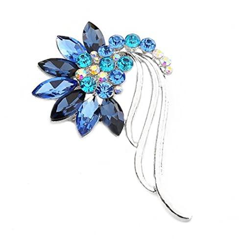 MENGHUA Ropa Accesorios Moda Color Pluma Cristal Broche Broche Broche B6 Azul