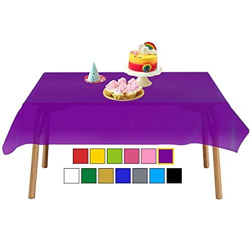 "YANGTE Mantel de plástico desechable, 8 unidades, 137 x 274 cm, para mesas interiores o exteriores, fiestas, cumpleaños, bodas, Navidad, Morado, 8 Pack 54""x108""Rectangle"