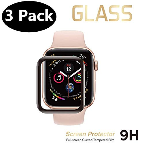 Lighty [3-Pack] Tempered Glass Screen Protector for Apple Watch Series 5/4 44mm, 3D Full Coverage Shatter-Proof Anti-Bubble Waterproof Scratch Resistant Screen Protector Compatible iWatch 44mm