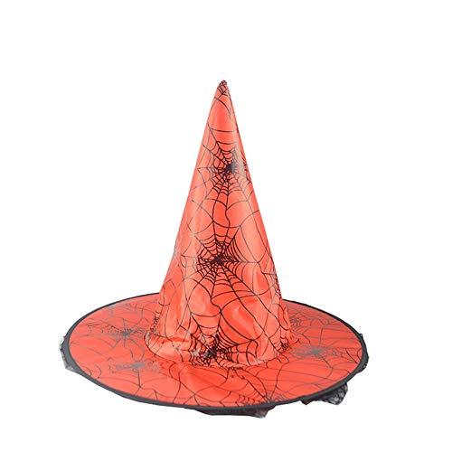 ZZBO Mütze Halloween Hexenhut Erwachsene Cosplay Hut mit Breiter Krempe Halloween Kopfbedeckung Wizard Hat mit Schwarz Spitze Schleier und Spinnennetz-Muster für Damen und Herren