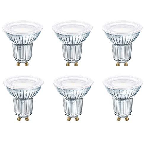 OSRAM LED STAR PAR16 GU10 - Faretto in vetro, 120°, 4,3 W = 50 W, 350 lm, 4000 K, 6 pezzi