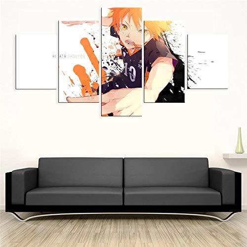 BHJIO 5 Piezas Cuadros Modernos Impresión De Imagen Artística Digitalizada Lienzo Decorativo para Tu Salón O Dormitorio Anime Haikyu Regalo 150 X 80 Cm.