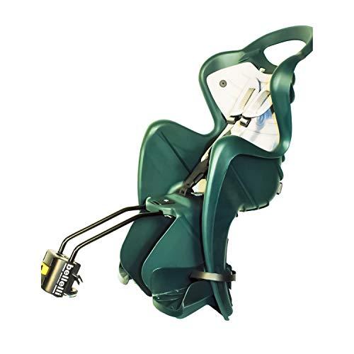 Mr Fox 2021 - Asiento Posterior Reclinable de bibicleta - cojín y Respaldo de Polipiel - para niños de hasta 22 kg, de 3 a 8 años - Se Fija al Cuadro - Verde