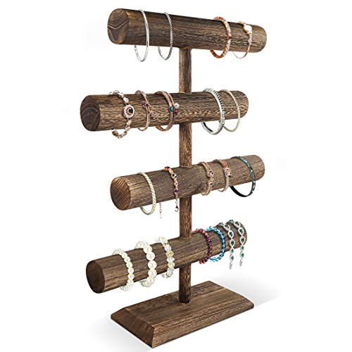 LadyRosian 4 Tier Wooden Display Jewelry Accessory Stand Jewelry Bracelet Holder Bangle Watch Necklace Storage Jewelry Holder Stand Display Organizer, Brown