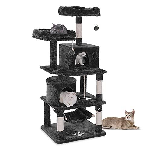 Aufun Stabiler Kratzbaum 145 cm hoch Kletterbaum für Katzen mit Häuschen und Liegemulde, Plüsch-Sitzmulden, Sisal umwickelte Kratzstellen, Rauchgrau