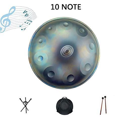 Zakjj Handpan Drum D-Moll 10 Note 22 Zoll Stahl Hand Drum Mit Soft Hand Pan Bag 2 Handpan Hammer Handpan Stand Staubfreies Tuch Sternenblau