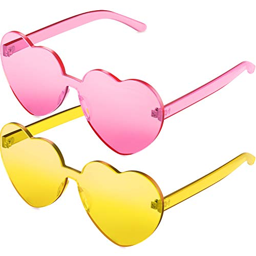 2 Pieces Heart Shape Rimless Sunglasses Transparent Candy Color Frameless Glasses Love Eyewear (Pink and Yellow)
