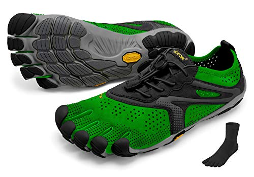 Fivefingers Vibram V-Run Men S E T - Zapatillas con dedos para hombre, para correr, descalzo, incluye un par de calcetines con dedos, color Verde, talla 43 EU