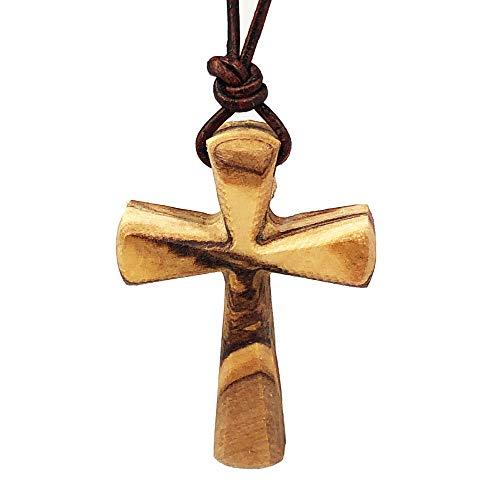Collar de cruz de madera maciza, colgante de crucifijo para mujeres y hombres en cordón de cuero (Brown)