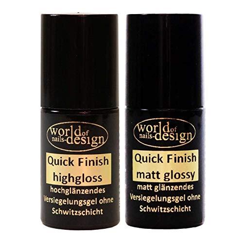 World of Nails-Design LED/UV Quick Finish hochglanz und matt, hochglänzendes und mattes Versiegelungsgel ohne Schwitzschicht in der Pinselflasche 2 x 6ml