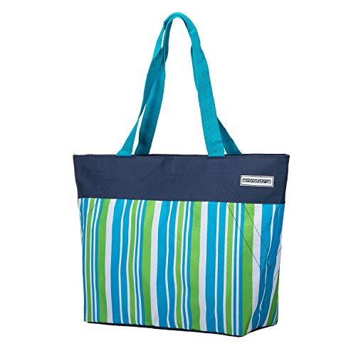 anndora Shopper 17 Liter Damen Handtasche dunkelblau Limette