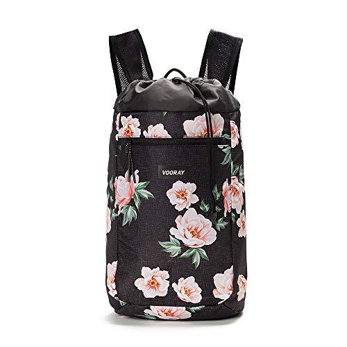Vooray Stride Cinch Backpack, Drawstring Backpack, Gym Bag for Men and Women (Rose Black)