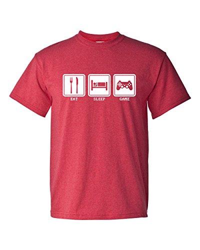 Herren T-Shirt Eat Sleep Game Video Gamer Controller Gamer Funny Adult - Rot - X-Groß