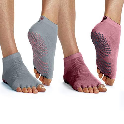 Gaiam Grippy Toeless Yoga Socks | 2 Pack | Non Slip Grip Accessories for Standard or Hot Yoga, Barre, Pilates, Ballet or at Home for Women & Men, Tropical Dusk