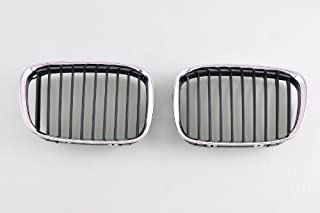 Wotefusi Car New Left & Right 2 Pieces Set Chrome Color Frame Middle Center Grille Grill with Black Slats for BMW 5 Series 525I 530I 2000-2003 2001 2002