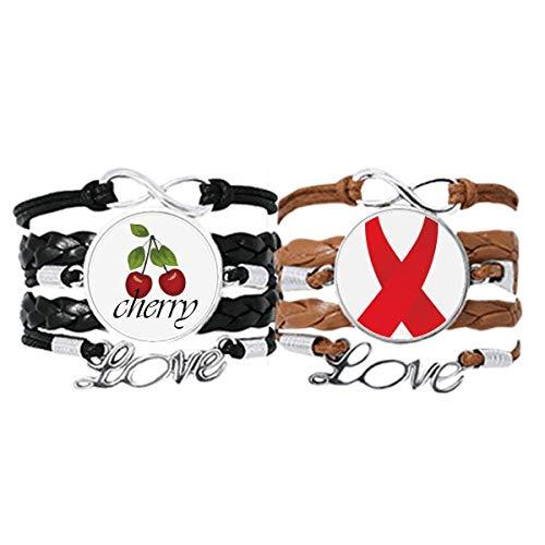 Bestchong Cinta roja para el Día Mundial del SIDA y la concienciación sobre el VIH, correa de cuero, pulsera de amor de cereza, juego doble