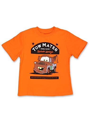 Disney Cars Tow Mater Toddler Boys Short Sleeve T-Shirt Tee (4T, Orange)