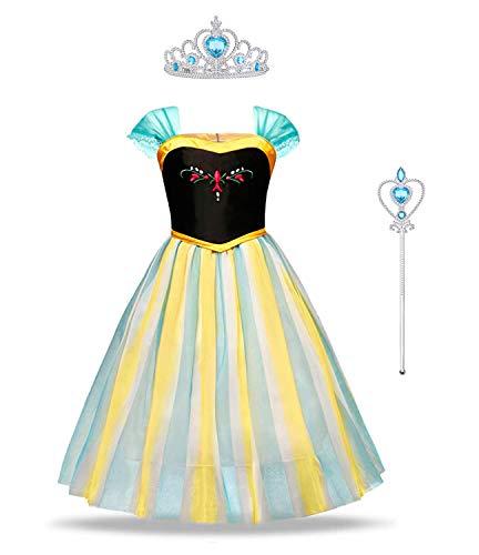 URAQT Elsa Costume, Set da Principessa Elsa Corona Bacchetta Guanti Treccia, Elsa Costume di Cosplay Party Halloween Costume Abito delle Ragazze di Natale Vestito Fantasia