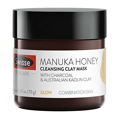 Swisse Natural Skincare Manuka Honey Australian Kaolin Clay Face Mask | For Combination Skin | Cleanses, Purifies, & Hydrates | Charcoal, Norwegian Kelp & Red Algae, and Aloe Vera Extract | 2.47 oz
