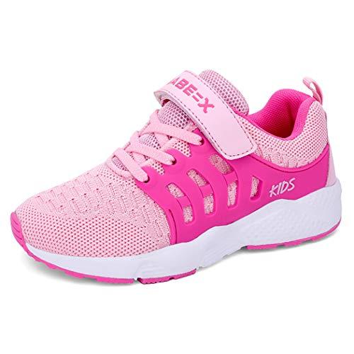 Unpowlink Kinder Schuhe Sportschuhe Ultraleicht Atmungsaktiv Turnschuhe Klettverschluss Low-Top Sneakers Laufen Schuhe Laufschuhe für Mädchen Jungen 28-37, 920-rosa, 30 EU
