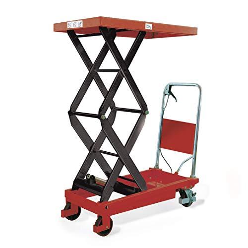 Stabilux Hubtischwagen, Doppelschere, Traglast 350 kg, Hubhöhe 1300 mm, Ladefläche 910x500 mm, Rot