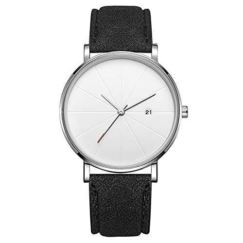 Reloj de moda simple Dial redondo Pantalla analógica Reloj de pulsera de cuarzo Accesorio de joyería Reloj de pulsera para hombres (# 12)