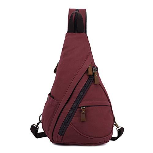 FANDARE Unisex Brusttasche Sling Bag 3 in 1 Herren Rucksack Damen Schulranzen Junge Mädchen Schulrucksack Schultertasche Umhängetasche Sporttasche für Schule Reise Pendeln Joggen Daypacks Weinrot