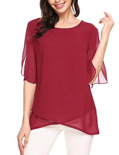 Beyove Damen Somme Chiffon Shirt Lose Fit T-Shirt Oberteile Asymmetrie Tops mit Punkten,Weinrot,S
