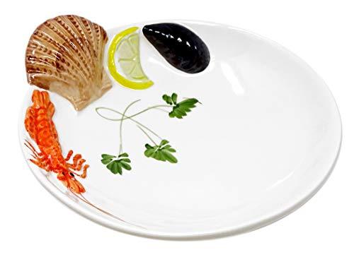 Lashuma Handgemachter Suppenteller aus Italienischer Keramik im Meeresfrüchte Design, Tiefer Teller 22 cm, 5 cm tief