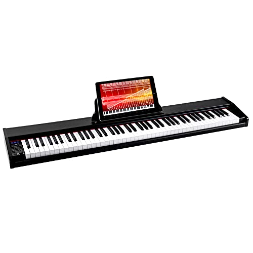 suhnerbell SDP-100 88 Key Beginner Digital Piano/keyboard with Full Size Weighted, Portable Electric Piano with Sustain Pedal, Power Supply (Black)