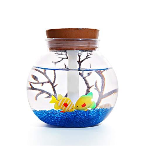 Ianqujiangxinqujianjunbaih Humidificadores para el Dormitorio En Miniatura del Paisaje humidificador Mini Oficina nightmute luz LED humidificador Colorful Fish