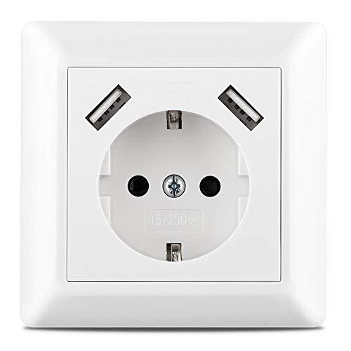 230 V Steckdose mit 2 x USB Ladegeräten, Schuko Wandsteckdose Unterputz, passend für Gira System 55, E2, Reinweiß seidenmatt, Weiß matt, TÜV Rheinland zertifiziert (Einfachsteckdose)
