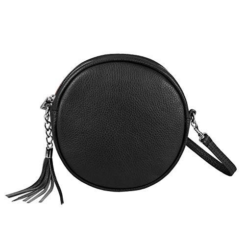 OBC Made in Italy Damen ECHT Leder Tasche Crossbody Runde Schultertasche City Bag Crossover Umhängetasche Clutch Ledertasche Damentasche Minibag Schwarz