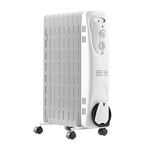 AmazonBasics - Termosifone a olio portatile, 9 alette e 3 impostazioni di riscaldamento, 2000 W
