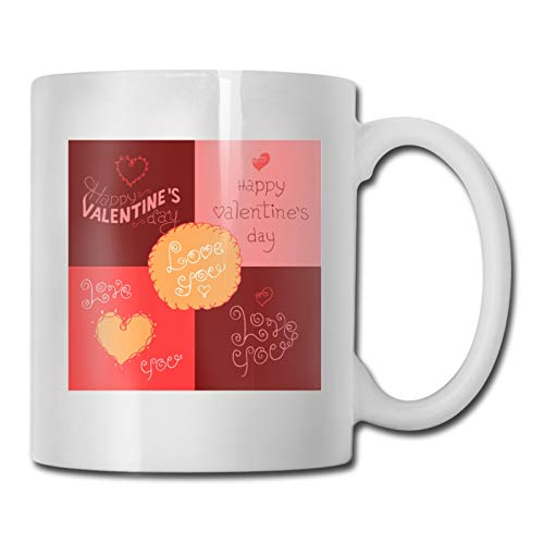 Valentine 's Day - Juego de 52 tazas de café de cerámica con diseño innovador y novedoso, ideal como regalo de San Valentín