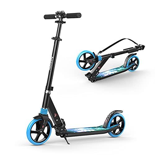 besrey Patinete para más de 8 años Adolescentes y Adultos, Ruedas Grandes Niños Scooter, Plegable y Ajustable en Altura, Carga Máxima 100kg,Azul