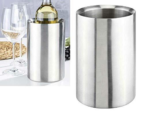 Oramics Flaschenkühler Weinkühler komplett aus Edelstahl 12,5x12,5x19cm - Sektkühler kippsicher bruchfest - Doppelwandige Vakuumisolierung für bessere Kühlung (Silber, 1 Stück)