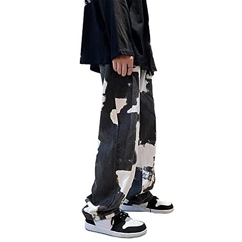 Axiamoncha - Pantalones vaqueros para hombre, estilo casual, talla mediana, estilo casual, estilo casual, cintura elástica, bolsillos largos, pantalones vaqueros, pantalón derecho, Negro , M