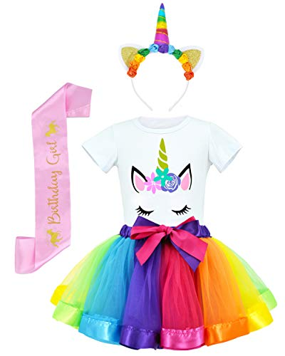 JiaDuo Girls Costume Rainbow Tutu Skirt with White Shirt, Headband & Satin Sash Rainbow Medium/2-4T