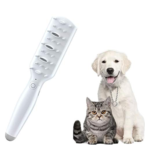 GACYSMD Haustierpfleger Deodorant Kamm, Haustiergeruch Eliminatorbürste für Hund und Katze, Smart Electric Haustiere Druckentlastung Massagekamm, Entfernen von Haustiergerüchen (Color : White)