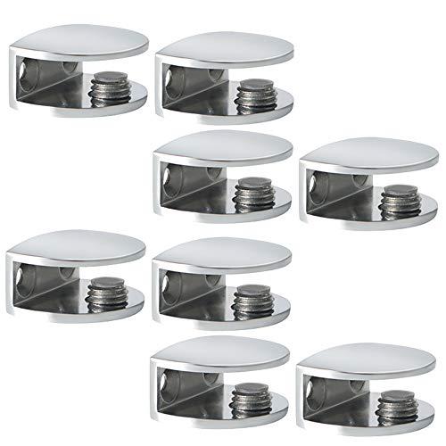 SAYAYO Adjustable Glass Shelf Bracket, 8 PCS Glass Clip Clamp Wall Mount Shelf Clamp for 8-10mm Thickness Wooden/Glass Shelf, Polished Finish