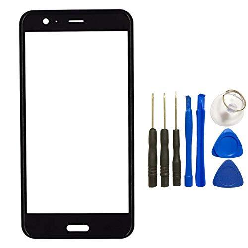 HTC U11 - Lente de cristal 3D para pantalla táctil de HTC U11 (pantalla táctil frontal LCD, panel exterior 3D, superficie curvada, reparación de piezas + kit de ...