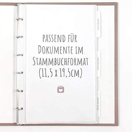 bigdaygraphix Stammbuchhüllen 5er Set Klarsichthüllen | geeignet Standard Stammbücher mit 6-Fach Ringlochung | Schutzhüllen Prospekthülle Stammbuch Standesamt Dokumente