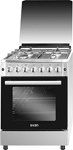 SVAN SVK6603ETX - Cocina (Cocina independiente, Acero inoxidable, Botones, Giratorio, Frente, Encimera...
