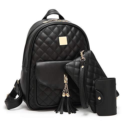 Women's Backpack 3-pieces Fashion PU Leather Shoulder Bags Fashion Ladies Travel Bookbag Black