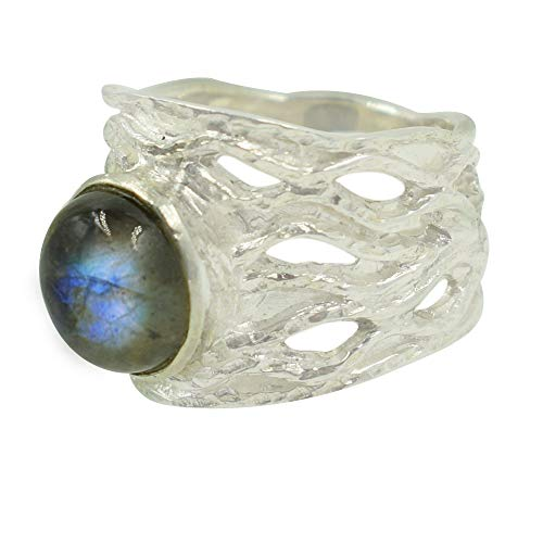 Anillo de labradorita azul natural con destellos de plata de ley 925 maciza para mujer, hecho a mano, anillo para hombre, FSJ-4063