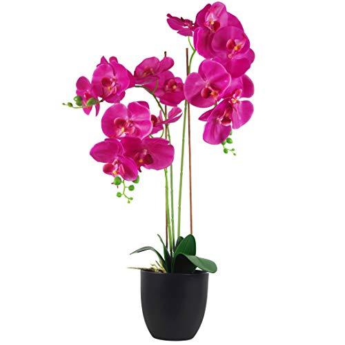 Leaf - Orchidea artificiale grande, 70 cm, colore: Rosa scuro