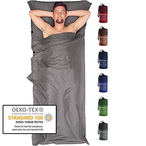 Fit-Flip Sábana Saco de Dormir Ultraligero, Forro de Saco de Dormir de Microfibra con Compartimiento de Almohada añadido, Saco sábana Tambien como Forro de Saco de Dormir - Color: Gris