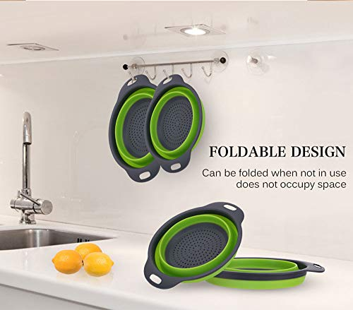 Kitchen Collapsible Colander Set of 3, HJYuan Silicone Colander Strainer Over the Sink Food Folding Water Filter Basket… 8 【 Foldable and Space Saving Design】Ergonomic, space-saving design. Strainers are foldable, so they do not take up much room in your kitchen cupboards. 【Safe and Comfortable】Using environmentally friendly Rubber and plastics materials,no smell.And it is very soft and comfortable. Closed home partner for life. 【Easy to Use】This round colander used for draining most foods like spaghetti, pasta, potatoes, broccoli, green beans, carrots, spinach and other veggies, to rinse your salad leafs, fruits and fresh vegetables.